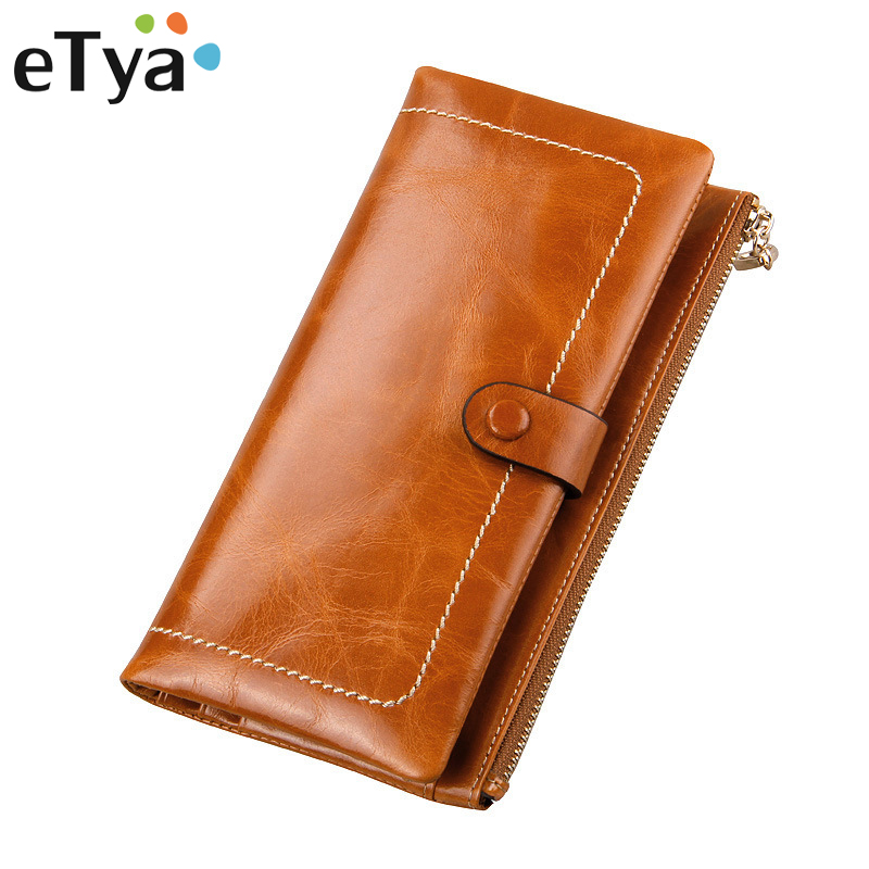 Genuine Leather Wallet Women Clutch Female Vintage Wallets New High Quality Purses Long Coin Purse Fashion ID Card Holder Wallet women leather wallets v letter design long clutches coin purse card holder female fashion clutch wallet bolsos mujer brand