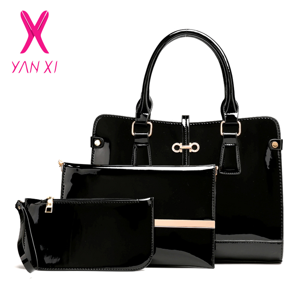 High Quality 3 Sets Patent Leather Women Handbags and Purse Fashion Composite Bag Ladies Bow Trunk Bags for Women Shoulder Bags 100% brand new and high quality student macaron bow serie fashion change purse ap3
