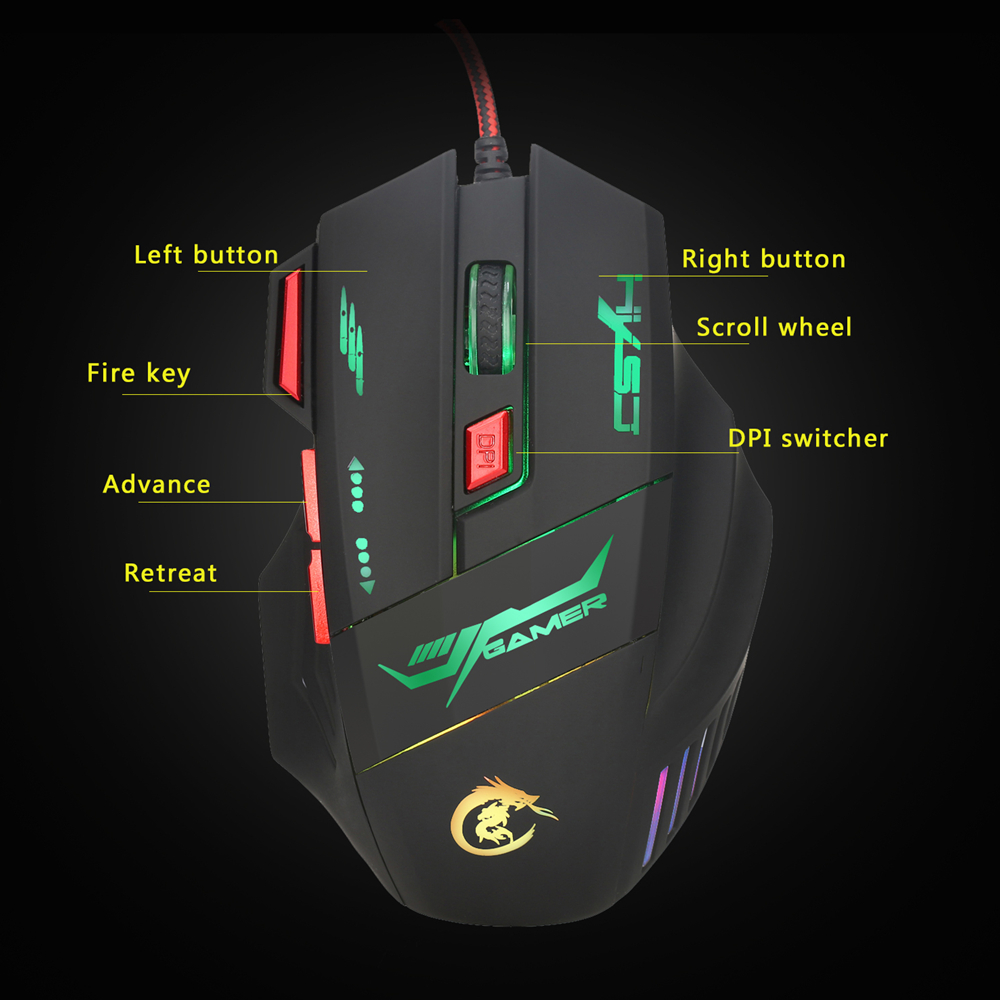 Wired USB Optical Gaming Mouse 7 bright colors LED backlit ergonomics Pro 5500DPI Transformer for pc computer in Mice from Computer Office