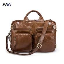 MVA Business Men's Briefcase Handbags Genuine Leather Men Bag Shoulder Messenger Bags Portfolio Men Leather Back Pack Laptop Bag