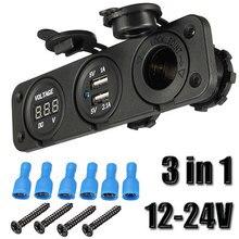 12V 24V Car Blue Dual USB Charger Adapter Digital Voltmeter Cigarette Lighter Socket LED Light Power Outlet For Mobile Phone недорого