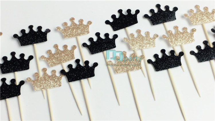 Custom Bow Color Gold Black Glitter Crown Cupcake Toppers Picks Baby Shower  Princess Kids 1st Birthday Party Decorations-in Cake Decorating Supplies  from ... c232f48c8bc6