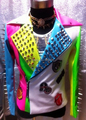Homens de moda de nova cantor Mulitcolor Pu Rivet jaqueta de couro traje Bar Stage Show boate Dj terno do corpo para homens Outerwear