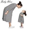 Bebé y mamá vestido vestido de las muchachas mujeres pijamas de los cabritos de la raya madre y niño vestido de desgaste de los niños lyw-20811
