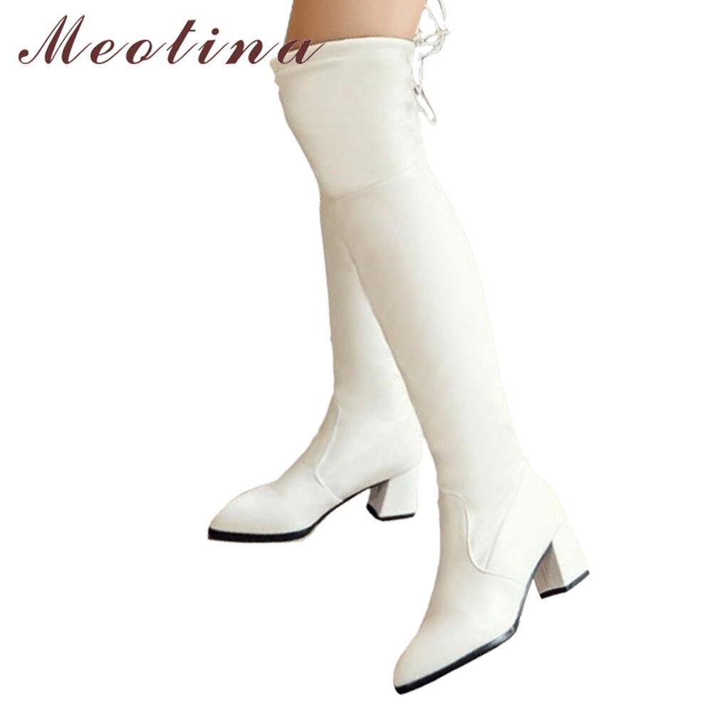 Moeitna udo wysokie buty damskie zimowe nad kolana buty gruby obcas długie buty Bow Lace Up biały czarny duży rozmiar 34 43 w Buty za kolano od Buty na AliExpress - 11.11_Double 11Singles' Day 1