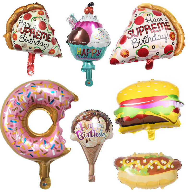 HOT 1PC Hamburger Hot Dog Donut Pizza Ice Cream Foil Balloon Happy Birthday Party Decoration Cake Shop DIY Inflatable Balloons