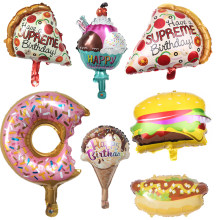 HOT 1PC Hamburger Hot Dog Donut Pizza Ice Cream Foil Balloon Happy Birthday Party Decoration Cake Shop DIY Inflatable Balloons(China)
