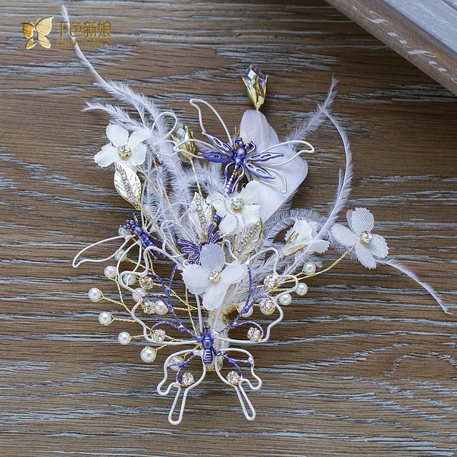 Gorgeous butterfly hairgrips pearl rhinestone hairclips girl flower hairpins feather bride headpiece  wedding accessories lb074