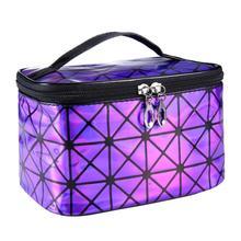 2016 Fashion Business Women Makeup Case 3D laser Diamond Pattern Portable Ladies Cosmetic Bag Casual Purse mochila feminina