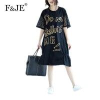 F & je 2017 di estate di nuovo modo di stile coreano loose women casual dress top quality rappezzatura del merletto manica corta lunga dress j986