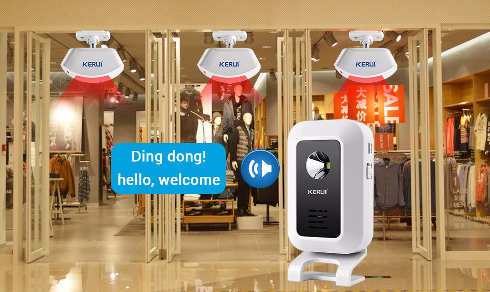Us 999 20 Offkerui Wireless Shop Store Welcome Door Entry Chime Smart Doorbell With Button Curtains Infrared Motion Detector Door Alarm In Alarm