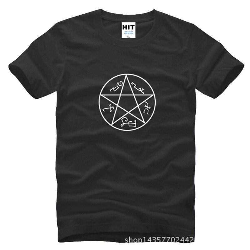 위카 마녀 이교도 마술 펜타클 서클 스타 펜타 그램 초자연적 인 프린트 남성 티셔츠 티셔츠 면화 Camisetas Hombre