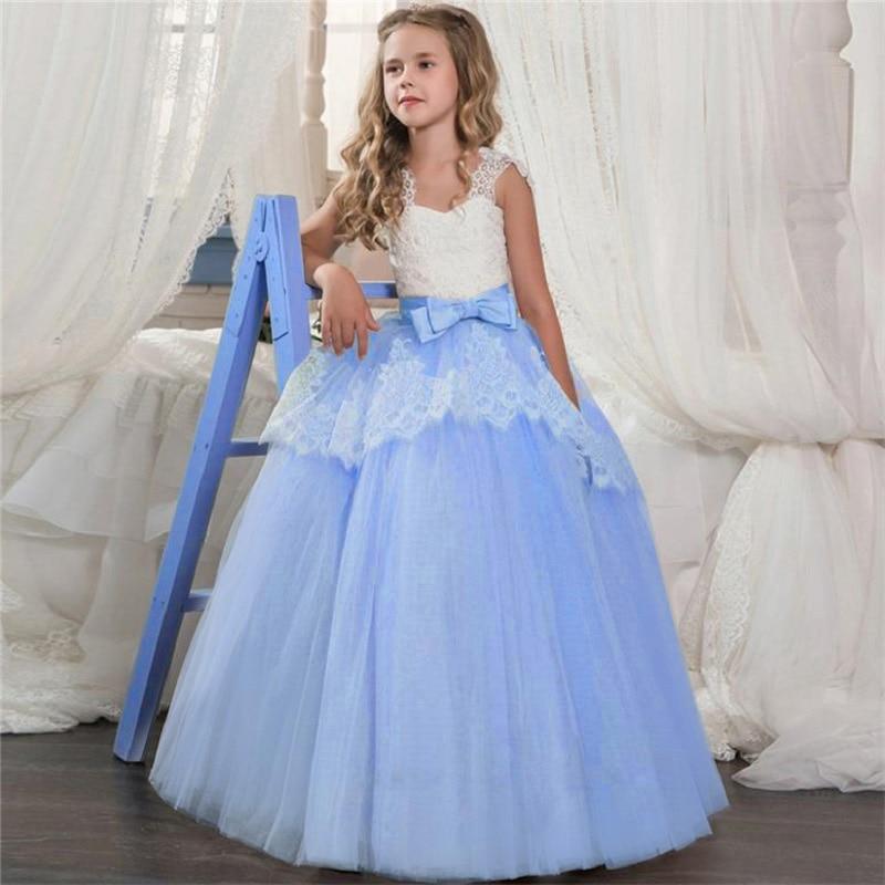 Новинка года, Открытое платье с цветочным рисунком на спине для девочек высококачественное свадебное платье с цветочным узором для мальчиков элегантное праздничное платье с кружевом и цветочным узором для девочек - Цвет: blue