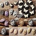 4/8/10/12 Unids Resina B Grado Estilo Vintage Oval Mariposa Animales Flores Posterior Plana Cameo Cabochon Para La Joyería Que Hace Al Por Mayor