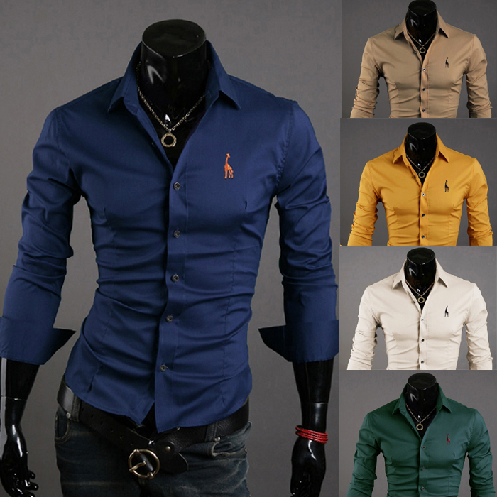 mens Professional new fashion Little deer embroidery Long-sleeved shirt  slim casual shirt(China