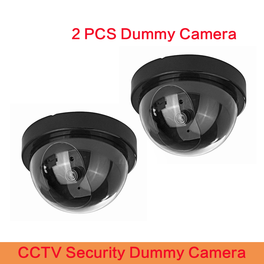 2 PCS High Quality Dome Mini Cameras Dummy Camera CCTV Flash Blinking LED Video Surveillance Home Office Safety Camera image