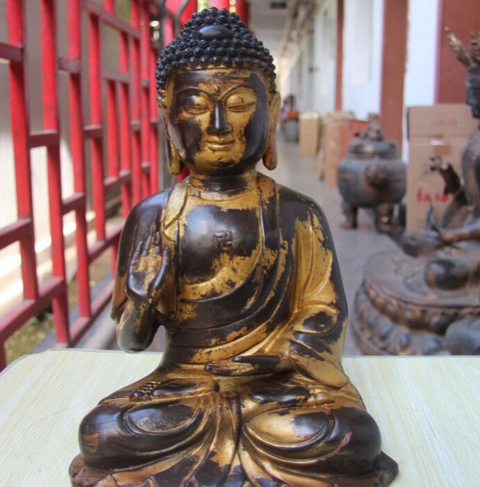 Collectible Bronze S2646 12 Tibet Buddhism Bronze Copper Tathagata Buddha Rulai Sakyamuni Amitabha Statue (B0328)