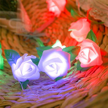 20 LED Rose Flower String Battery Powered Colorful Fairy Lights Wedding Home Birthday Valentines Day Event Party Garland Decor