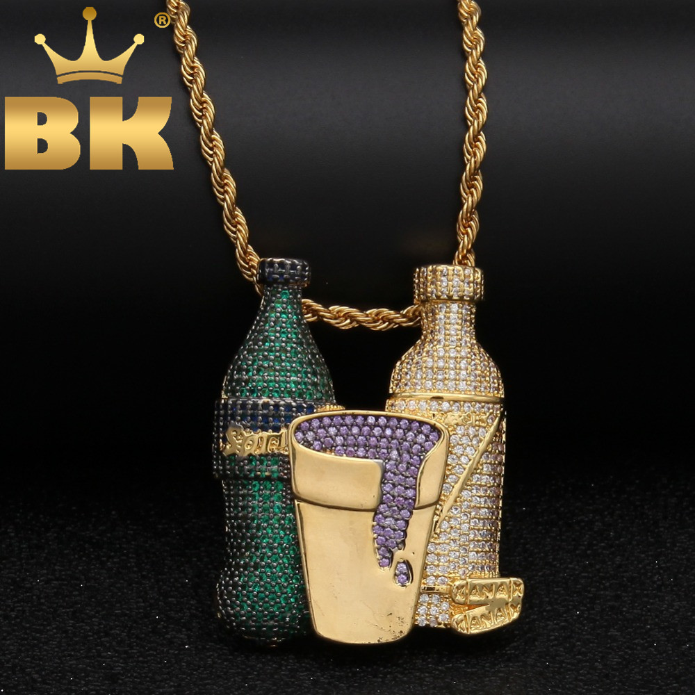 Shiny Colored Cubic Zircon Drink Bottle Cup Pendant Fashion Silver Gold Color Hiphop Necklace For Men Jewelry Wholesale