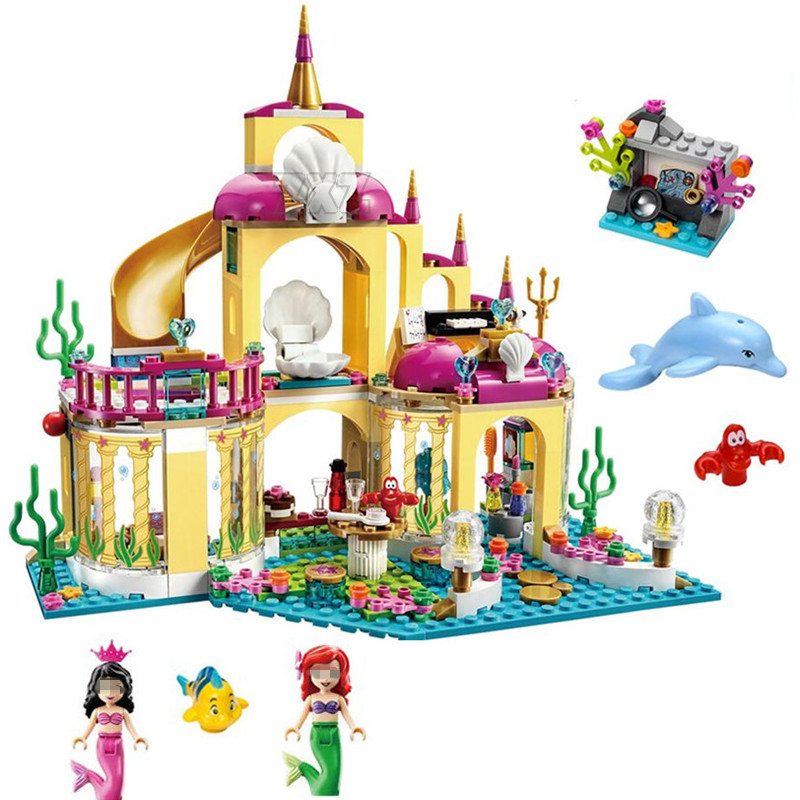 Bela Diy Girl Princess Undersea Palace Model Building Kit Blocks Bricks Toy for Chidren Compatible With Legoingly 41063 for Gift