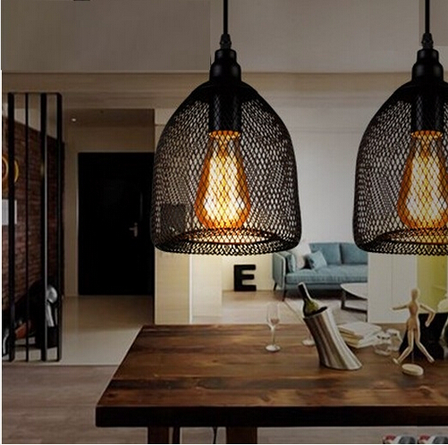 Edison Loft Style Wire Mesh Droplight Vintage Pendant Lights Fixtures For Bar Dining Room Hanging Lamp Home Lighting loft vintage edison glass light ceiling lamp cafe dining bar club aisle t300