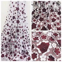 French bead lace fabric for haute couture with 3D applique and pearl African bridal wedding decoration costumes accessories lace