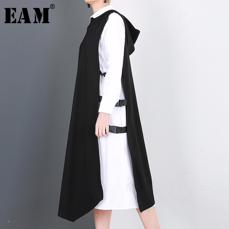 [EAM] 2018 New Spring Round Neck Long Sleeve White Green Vest Solid Color Two Piece Dress Women Fashion Tide JD90000