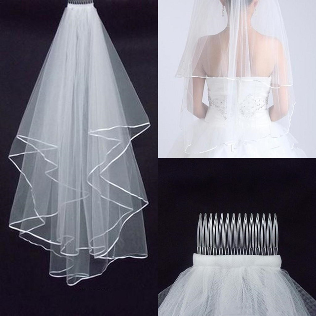 Simple And Elegent Wedding Veil Bridal Tulle Veils With Comb And Lace Ribbon Edge White