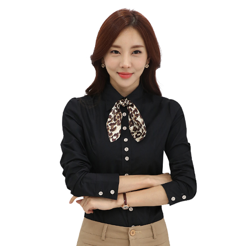 Shirt Women Long sleeve Turn-down collar Blouses women work wear uniform office OL shirt simple body tops