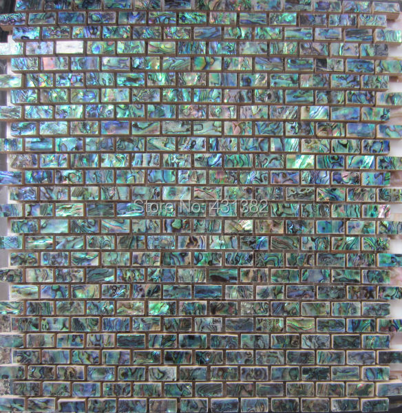 Buy green abalone shell mosaic tile on for Installing glass tile with mesh back