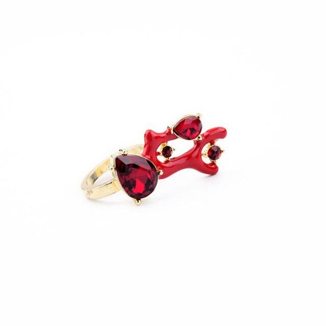Farbe Koralle königliche rote koralle fasziniert kristall ring für frauen
