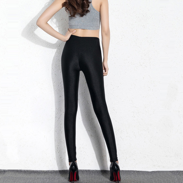 BIVIGAOS Womens Sexy Shiny Stretch Leggings Thin Ankle Pants Legins Slim Black Leggings Gothic Trousers For Women Clothing 6