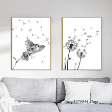 Abstract Dandelion Canvas Painting Wall Picture Butterfly Poster Black And White Art Print Nordic Decoration Home Unframed