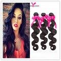 Top Remy pelo de La Reina brasileña onda del cuerpo 7A Grado Brasileño Virgin Hair Body Wave 3 Bundles Extensiones de Cabello Humano Natural negro