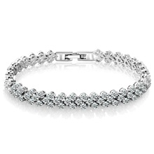 SUPIN Fashion Women Trendy Elegant Silver Plated Aaa Crystal  Chain & Link Bracelet Charm Bracelets & Bangles Jewelry For Women