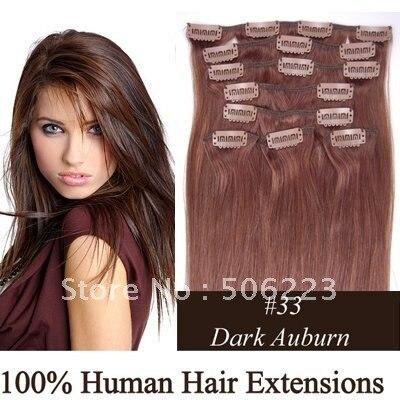 160g human hair extension 20 22 24 clip on human hair
