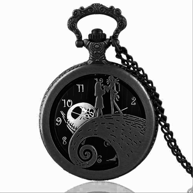 new fashion tim burtons the nightmare before christmas sally jack quartz pocket watch necklace pumk mens - Tim Burtons The Nightmare Before Christmas