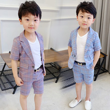 2 Colors Plaid Suit for Boy Single Breasted Baby Boys Suits for Weddings Costume Toddler Boys Blazer Jogging Kids Suits 2019 5 piece boys pink plaid suits slim fit ring bearer suit for boys formal classic costume weddings