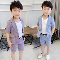 2 Colors Plaid Suit for Boy Single Breasted Baby Boys Suits for Weddings Costume Toddler Boys Blazer Jogging Kids Suits 2019