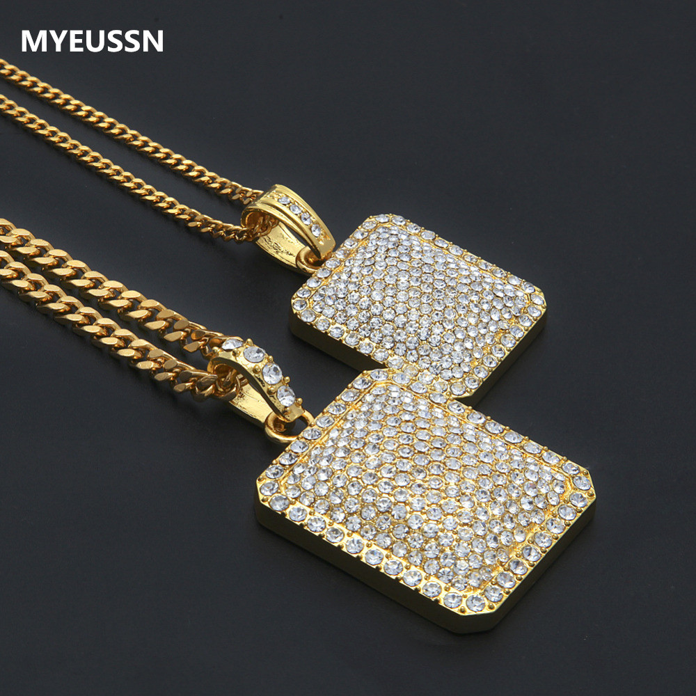 Men Army Necklace Gold CZ Iced Out Charm Dog Tag Military Card Pendant Necklace Hip Hop Bling Bling Jewelry