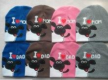 Хлопок шапочка 5 шт. младенцы шляпа для малышей младенцы дети девочка мальчик I влюбленность мама папа младенцы зима осень младенческой кепка I влюбленность мама
