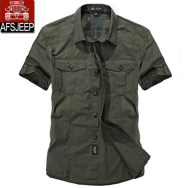 2017 new men s summer short sleeve military uniform high quality 100 cotton lapel jeep style