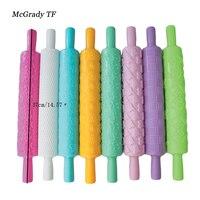 8 cái/bộ Đầy Màu Sắc Nhựa Embossed Textured Patterned Fondant Cán Pins Bánh Trang Trí Công Cụ Baking Nhựa Pastry Con Lăn