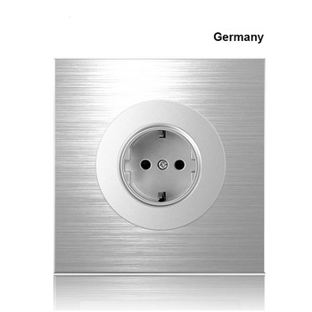 86 type 1 2 3 4 gang 1 2way Silver aluminum alloy panel Switch socket LED Northern Europe Industry German UK French light socket 10