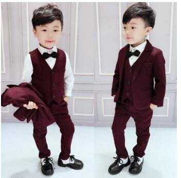 2017 spring and autumn baby set boy gentleman wedding suit dress children's suit jacket + vest + pants 3 sets 2-7T free shipping new 2018 spring fashion baby boy clothes gentleman suit short sleeve stitching plaid vest and tie t shirt pants clothing set