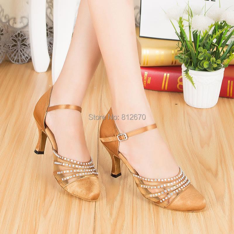 a0f6997a Zapatos de baile de calidad marrón azul cuadrado para mujer zapatos de baile  de strass de punta estrecha zapatos de tacón alto Salsa zapatos de baile  para ...