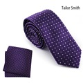 Tailor Smith Best Purple Necktie Hanky Set Pure Silk Woven Jacquard Casual Formal Business Wedding Dress Tie Mens Accessories