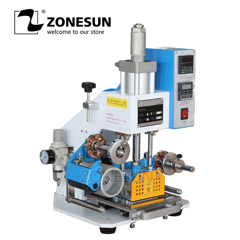 ZONESUN ZY-819-A 80*90 milímetros Pneumática Máquina de Carimbar LOGOTIPO de couro Embossing Nome Personalizado Folha de Hot Stamping Máquina