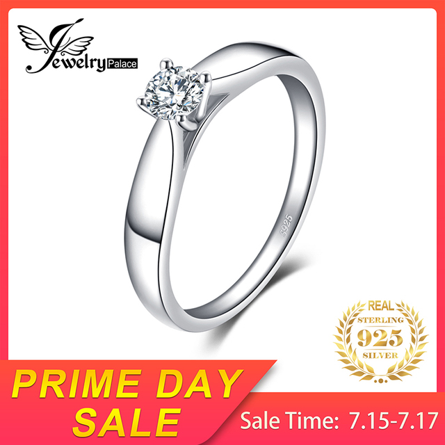 JewelryPalace Lovely Engagement Solitaire Ring 925 Sterling Silver Rhodium Plated Wedding Jewelry For Girl On Sale