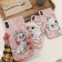 Cartoon Marie Cat Conch Shell pink Case For iPhone XS MAX XR 6 6S 7plus 8 Plus soft TPU for X Back Cover